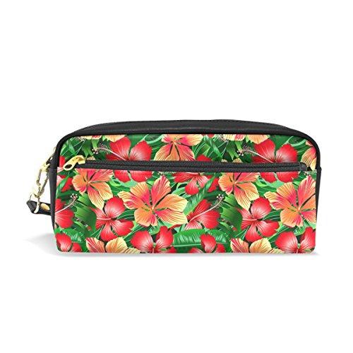 coosun Tropical Orange und Rot Hibiskus Blumen Tragbar PU Leder Bleistift Fall School Pen Staubbeutel Stationäre Tasche Fall Große Kapazität Make-up Kosmetiktasche