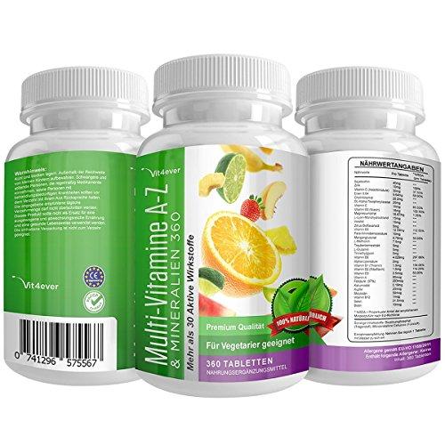 Multivitamin A-Z - 360 Tabletten - 32 Vitamine & Mineralien - 360...