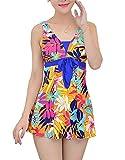 YoungSoul Schwimmanzug Damen Einteiler Figurformender V-Ausschnitt Badeanzug mit Röckchen Badekleid Push Up Geblümt Bademode Blumen DE 32-34