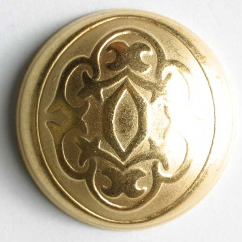 4 Stück: Vollmetallknopf - Größe: 15mm - Farbe: mattgold