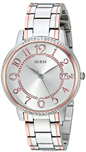 Guess Women's Stainless Steel Two-Tone Casual Watch, Color: Silver/Rose Gold (Model: U0929L3)