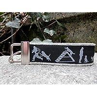 Schlüsselanhänger Schlüsselband Wollfilz hellgrau IPO Hundesport silbergrau schwarz Geschenk!