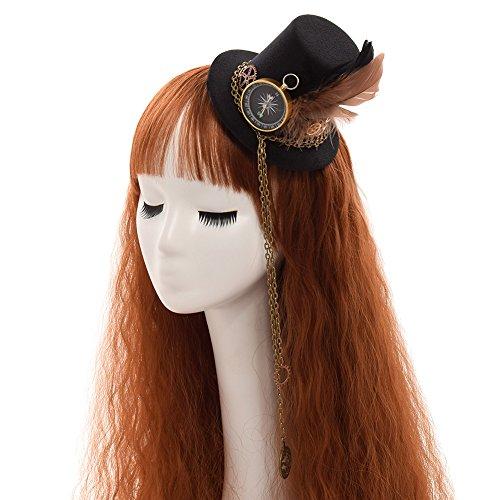 GRACEART Kompass Feder Steampunk Hut Damen Topper Kopfbedeckung