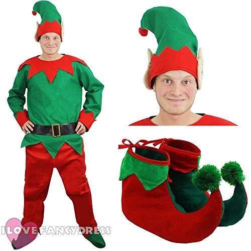 ILOVEFANCYDRESS Fancy Dress Unisex KOSTÜM ELF, Motiv Cheeky ELF TOP Hose, GÜRTEL, Hut, Schuhe MIT POM POM - SMALL (Für Erwachsene Santa's Grüne Helfer Weihnachten Kostüm)