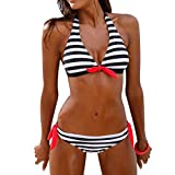 Bikini ❤DEELIN Frauen Bikini Set gestreiften Badeanzug Bademode Beachwear Taillierte Badeanzug Split Damen Bademode Set Bikini (S, Schwarz)