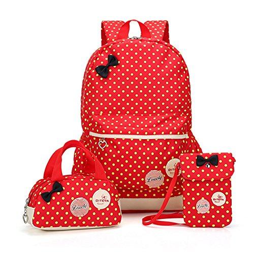 Bcony Set von 3 Nette Punkt College Schultaschen/Rucksäcke /Schulrucksäcke/Kinderbuchtasche Mädchen Teenager + Mini Handtasche + Geldbeute Umhängetasche,Rot +Gelb