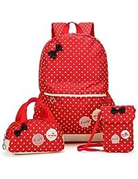 Bcony Conjunto de 3 Dot lindo Las mochilas escolares universidad/bolsas escolares/mochila niños niñas adolescentes + mini bolso + bolso crossbody,Rojo