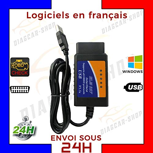 Elm 327 OBD 2 avec Cable USB Interface de diagnostique OBD II pour PC + Logiciel - ELM327 - Diagnostic Auto Multi Marque