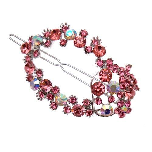 Acosta-&argenté avec cristal rose ovale et accessoires à cheveux-Coffret cadeau