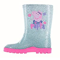 WILLIAM LAMB Girls Peppa Pig Glitter Blue Floral Wellington Boots UK Sizes 4-10
