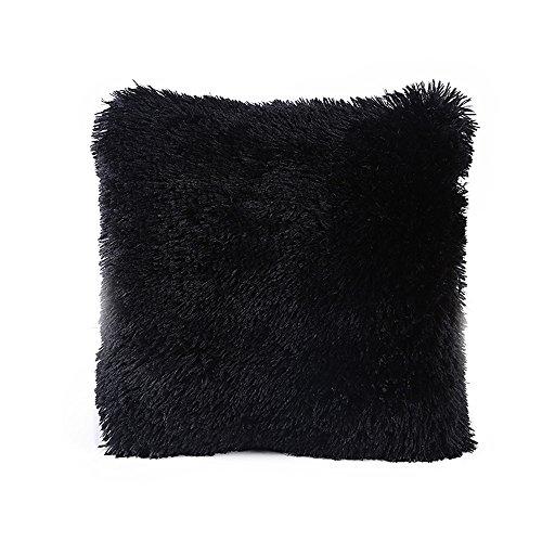Kissenhülle Wurfkissenbezug Kissenbezug für Sofakissen Dekokissen Plüsch Kissenbezüge Zierkissenbezug für aus Super Weicher und Flauschiger 43x43 cm (Schwarz) -