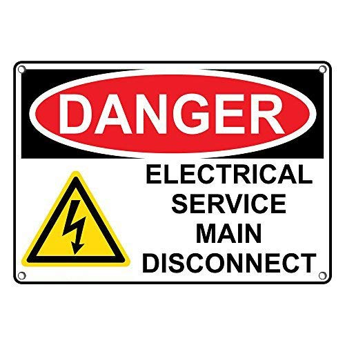Tomlinsony Blechschild Metal Tin Sign Aluminum Danger Electrical Service Main Disconnect Sign 8 X 12 Inch -