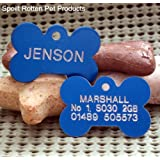 Blue Aluminium Small Bone Pet Identity Tag FREE Engraving & Free UK Delivery