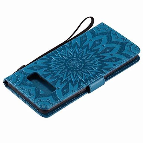 LEMORRY Samsung Galaxy Note8 Custodia Pelle Cuoio Flip Portafoglio Borsa Sottile Bumper Protettivo Magnetico Morbido Silicone TPU Cover Custodia per Galaxy Note 8, Fiorire (Blu) Blu