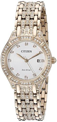 Citizen Eco-Drive 'Silhouette'da donna, al quarzo, in acciaio INOX, stile Casual, con orologio, colore: rosa, Oro, tonalità, modello: EW 2323-57A) - Citizen Eco Drive Silhouette
