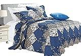 Parure de lit de luxe vintage (3 pièces) - Couvre-lit et 2 taies d'oreiller avec impression florale, matelassés et brodés, Microfibre, Blue ( C47-10), Double ( 220 X 240 CM )