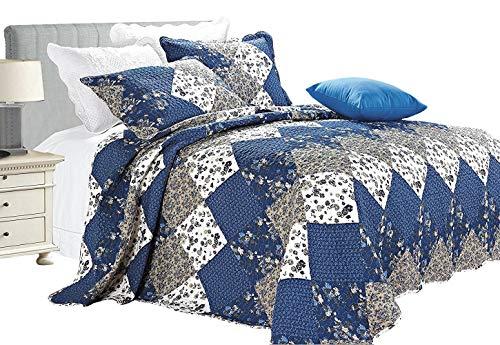 Luxus Blumen 3 Stück Gestepptes Vintage-Patchwork Tagesdecke, Reversibel Embroidered Tröster Set, Bed Throw Mit Kissenbezug (Doppelbett, Blau) -