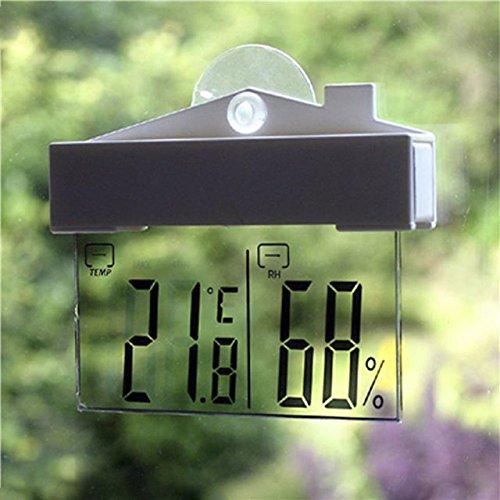 FomCcu digitales Thermometer und Hydrometer für Innen- und Außenbereiche, mit Saugnapf