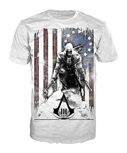 Price comparison product image Bioworld Merchandising Assassin's Creed III Burned Flag Shirt - White - Large