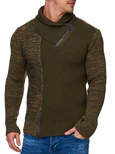 TAZZIO Herren Styler Grobstrick-Pullover mit Zipper-Kragen Melange Muster 16478 Khaki