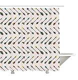 Yeuss Collection Arrow Decor,Pointes de flèches et queues de flèches colorées,Motifs d'arts décoratifs,Rideau de Douche en Tissu en Polyester,Orange,Jaune Turquoise