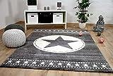 Kinder und Jugend Teppich Savona Army Star Grau in 5 Größen