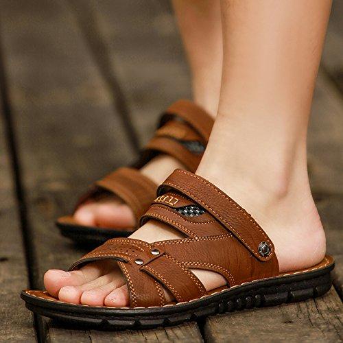 Xing Lin pour homme Sandales dété pour homme Sandales Sandales, Chaussures de plage, les orteils, décontracté, respirant, anti glissant, froide, froid, chaussons et dété double usage Marron foncé