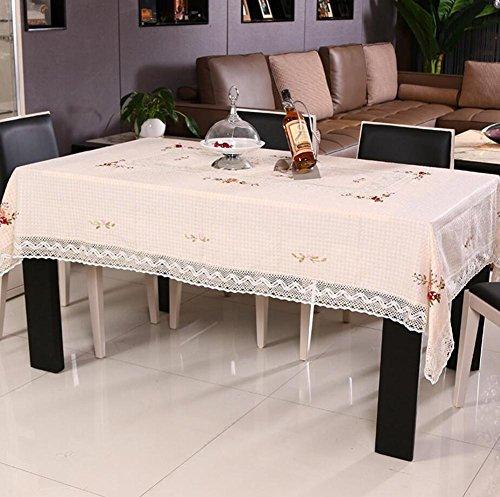 Hoover Staub (Tischdecken Band bestickt handgefertigt ländlichen Kaffee Tischdecke, mehr Einsatz verschiedene Größen Staub Bezug, beige, baumwolle, beige/braun, 145 * 215 cm)