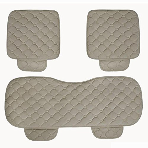 MIAO Autositz Heizkissen, Fünf-Sitze Auto Universal 12V 30W (HI) / 25W (LO) Winter elektrisch beheizte Plüsch Kissen dreiteilige Set einschließlich Vordersitzkissen * 2 + Rücksitzkissen * 1 , beige