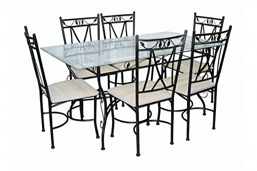Galileo Casa 2169816 Tivoli Set Tavolo, Rettangolare, 6 Sedie, Vetro/Metallo