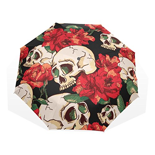 GUKENQ - Paraguas de Viaje con diseño de Calavera de azúcar, Color Rojo, Ligero, antiUV, para Hombres, Mujeres y niños, Resistente al Viento, Plegable, Paraguas Compacto