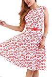 YMING Damen Sommerkleid 50er Partykleid Ohne Arm Swing Kleid Blumendruck Sommerkleid,Rot,Erdbeeren,XL/DE 42-44
