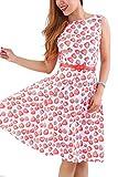 YMING Damen Partykleid KnielangPin up Vintage Kleid Blumenkleid Ballkleider Sommerkleid,Rot,Erdbeeren,L/DE 40-42