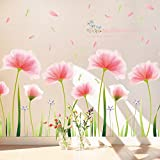 Adesivi Murali Fiore Rosa, Camera da Letto Soggiorno Adesivi da Parete Removibili/Decorazione Murales da Pingenaneer