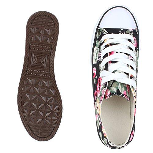 Bequeme Unisex Sneakers   Low-Cut Modell   Basic Freizeit Schuhe   Viele Farben   Gr. 36-45 Schwarz Muster