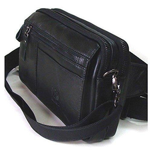 R095NUOVA Pelle Fanny Marsupio Borsa a tracolla borsa da viaggio passaporto, Brown (nero) - R095 Black