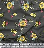 Soimoi Grau Baumwoll-Voile Stoff Blätter und Sonnenblumen