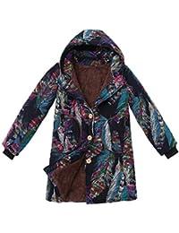 770863168 Womens Vintage Floral Print Hooded Outwear TUDUZ Winter Warm Thicken Fluffy  Fur Cardigan Coat Cotton Linen