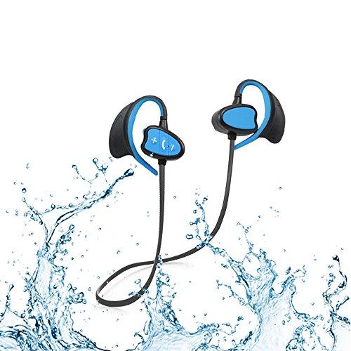 Ipx8 Waterproof CSR Auriculares Bluetooth Cancelación de ruido Auriculares deportivos inalámbricos con gancho para la oreja Auriculares a prueba de viento con micrófono para iPhone, Android (AZUL)