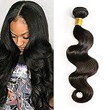 Moresoo 28pouces/70cm Meches Bresiliennes Extension Cheveux Naturel Straight Remy Humain Hair Naturel Noir/#1B 50 Gram Tissage Cheveux Bresilien Weaving Extensions