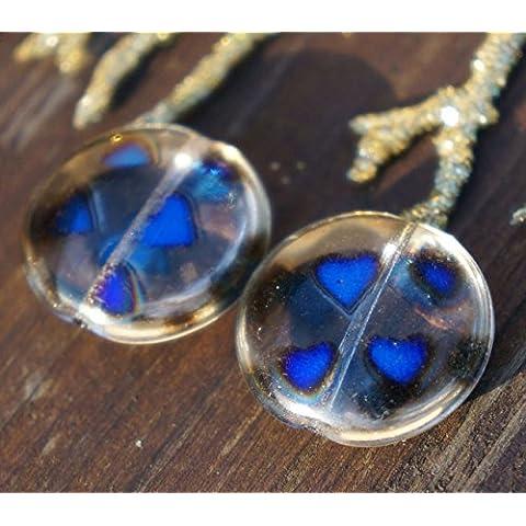 Nero Blu di Cristallo ceco Moneta Perle di Grandi dimensioni schermo Piatto Rotondo di Vetro, Perle di Turno ceca Perline Cuore ceca Perline di Cristallo ceco Piatto Moneta Perline 19mm 2pcs