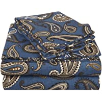 Superior - Set di lenzuola, 198 x 203 cm, in flanella, cotone, blu marino con motivo cachemire,
