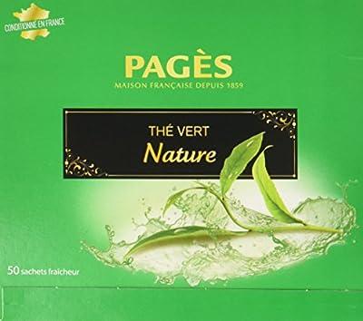 PAGÈS Thé Vert Nature 50 Sachets 100 g - Lot de 4