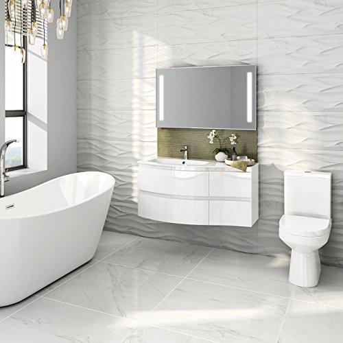Gloss White Bathroom Suite Two Piece Curved Wall Hung Vanity Unit Sink Toilet Search Furniture
