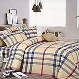 Weimilon Baumwolle Bettbezug Vier Jahreszeiten,Gitter,Gestreift,Einzigen,Student,Individuell,Double A Casual Chic 200X230Cm(79X91Inch) (Color : G, Size : 150x215Cm)