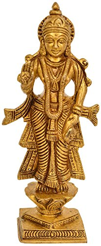 Exotic India Radha Ji - Brass Statue - Color Natural Brass Color