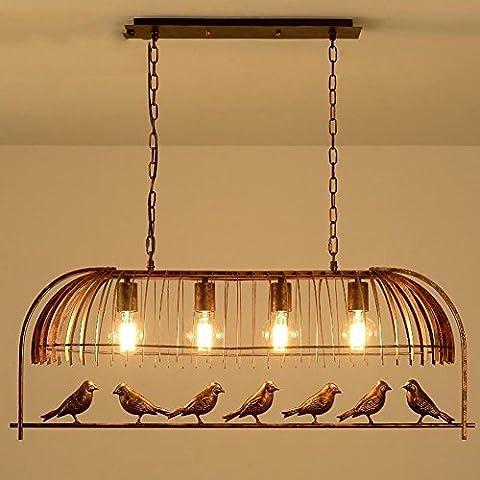 wei-d Nouveaux Lustres Rétro Style Industriel Lustre D'Oiseaux Restaurant personnalisé Bar Café Simple Four Light Light Pendant , without light , A