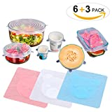 6Pcs Silicone Lids Reusable Stretch Kitchen Bowl Covers Food Fresh Lids with 3Pcs Food Wraps for Ho
