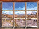 Bank in den Dünen mit Blick auf das Meer Kunst Pinsel Effekt Fenster im 3D-Look, Wand- oder Türaufkleber Format: 92x62cm, Wandsticker, Wandtattoo, Wanddekoration