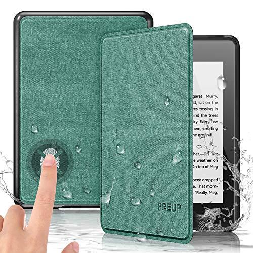 PREUP Funda para Kindle Paperwhite, (10.ª generación, 2018 Release), Carcasa de Cuero Fina y Ligera Sintético con Función de Auto-Reposo/Activación, Impermeable, Color Azul